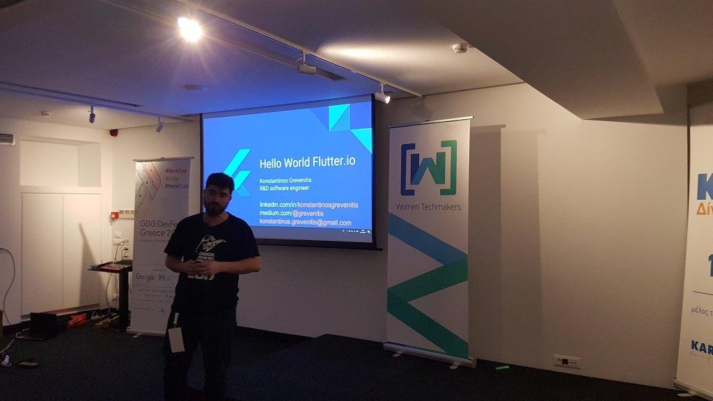 Giving a talk about Flutter at GDG DevFest Greece 2017, Heraklion, Crete