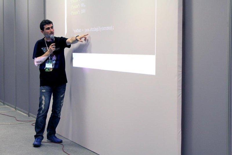 Giving a talk about Dart at GDG DevFest Greece 2013, Thessaloniki, Greece