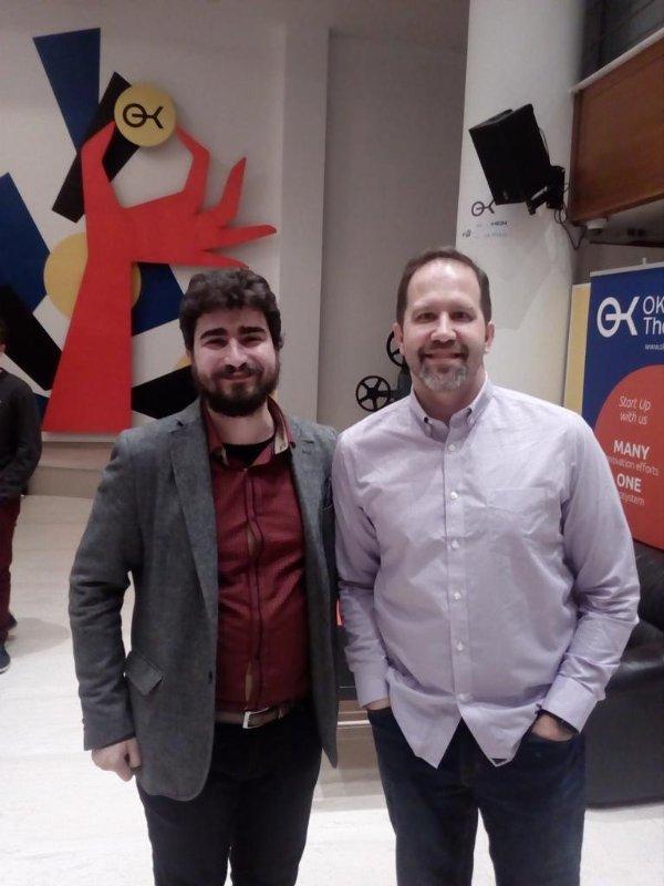 With Microsoft's Scott Hanselman, during a Thessaloniki's .NET meetup and before Voxxed Days, 2017, Thessaloniki, Greece